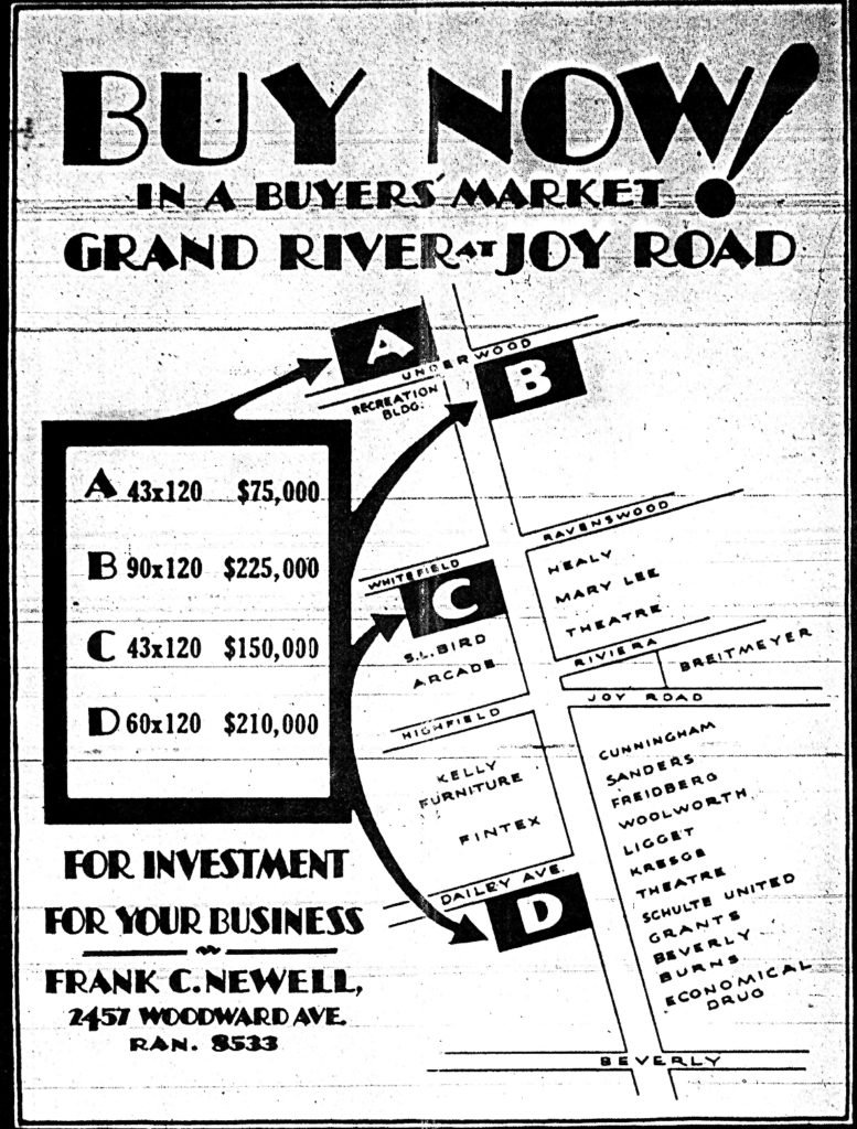 Developers Ad - Detroit News 1929