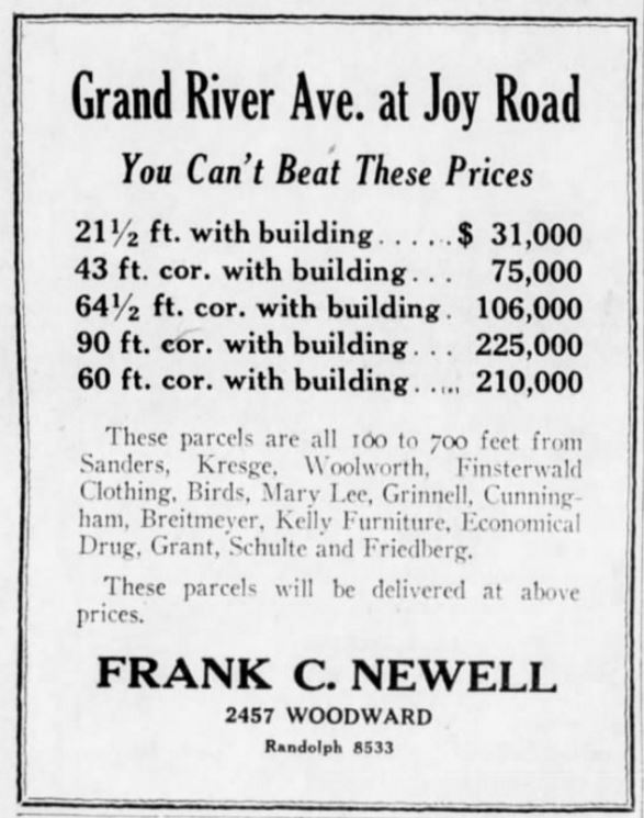 Developers Ad - 9-16-28 Detroit Free Press